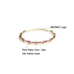 페어리 핑크 루비 5개 왕관 반지  14k Gold_(54064)