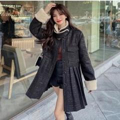 겟잇미 페이크 밍크퍼 누빔 밑단주름 코트