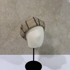 체크 블랙 벽돌 베이지 꾸안꾸 데일리 베레모 모자