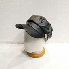 블랙 체인 꾸안꾸 패션 챙넓은 헌팅캡 마도로스 모자