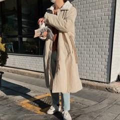 겟잇미 네크라인 밍크퍼 포근 무광 베이직 코트