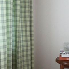 젬마 체크 커튼(민트그린)