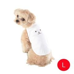 강아지 곰팅 나시 티셔츠 화이트 L