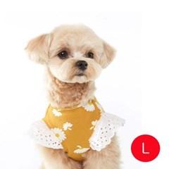강아지 플라워 엔젤 티셔츠 옐로우 L