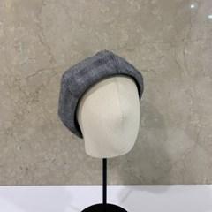 체크 그레이 베이지 데일리 꾸안꾸 패션 베레모 모자