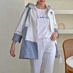 여성 봄 후드모자 배색 아우터 점퍼 자켓