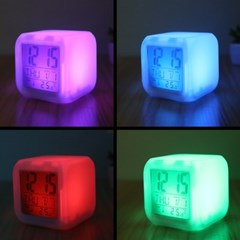 4in1 큐빅 LED 무드 디지털 시계 알람 달력 온도계