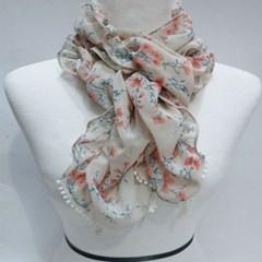 실키 플라워 꽃무늬 얇은 데일리 미시 패션 스카프