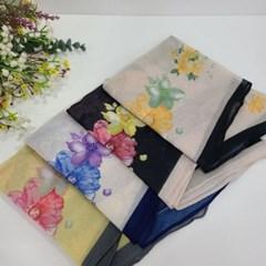 실키 롱 플라워 옐로우 블랙 데일리 미시 패션 스카프