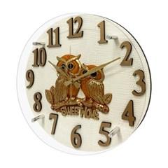 HI-OW09 스위트홈 부엉이 벽걸이시계 화이트