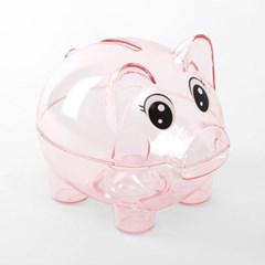 분홍색 투명 돼지저금통