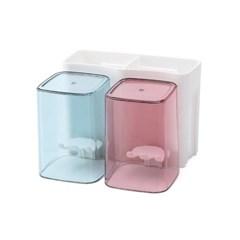 올인원 양치컵 칫솔꽂이 2인세트 / 부착식 칫솔홀더