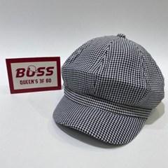 숏챙 체크 블랙 블루 패션 헌팅캡 마도로스 모자