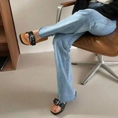 여성 여성 스퀘어토 가죽 버클스트랩 통굽 슬리퍼 DONA 6109