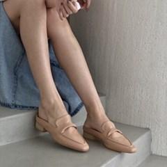 여성 가죽 스퀘어토 스티치 꼬임장식 블로퍼 DONA 5772