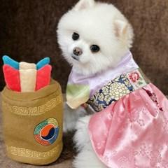 새벽하늘빛 한복 여아 강아지 핸드메이드 한복