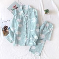 스트라이프 봄 잠옷세트(M) (그린)
