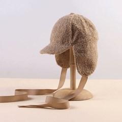 뽀글이 리본 귀달이 모자(브라운)