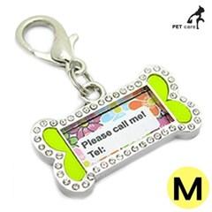 펜던트 인식표 큐빅 강아지 이름표 뼈다귀문양 M