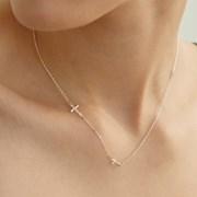 [휘인 착용][silver925] tidy cross necklace