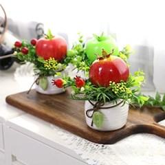 풍수 인테리어 모형과일 나뭇잎 조화화분 소 3p set_(2348793)