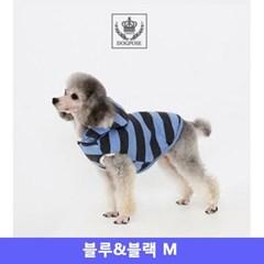도그포즈 강아지 옷 후드점퍼 블루앤블랙 M