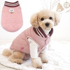 반려동물 얼스 컬러 펫 퀼팅 패딩 핑크 겨울 데일리룩