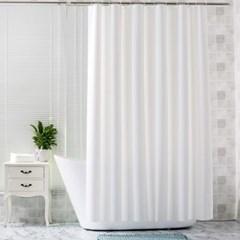 민무늬 화이트 샤워 커튼 세트 (커튼,고리,봉)_(635216)