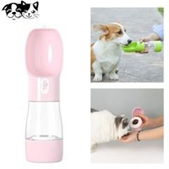 토리 HQ 2in1 휴대용 물병 핑크 강아지 급수기