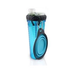강아지 휴대용 물병 스낵 듀오 블루