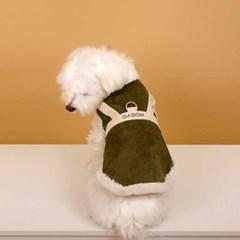 다솜 무스탕 하네스 베스트 올인원 강아지겨울옷