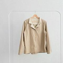 봄 루즈핏 박시 카라넥 스트링 언발 가죽 레더 자켓