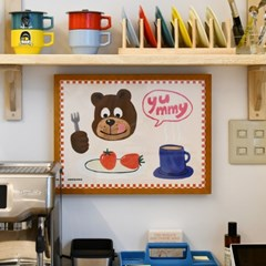 [카멜앤오아시스] Yummy 딸기 핫초코 디저트 테디 곰 포스터