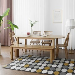 [오크] Q1형 커브식탁/테이블 세트 : 화이트오크 1800_(1671752)