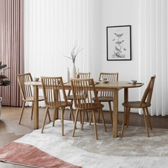 [오크] Q2형 커브식탁/테이블 세트 : 화이트오크 1800_(1671753)