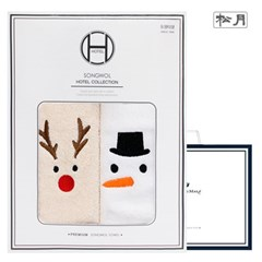 송월 루돌프+눈사람+산타 2매선물세트+쇼핑백