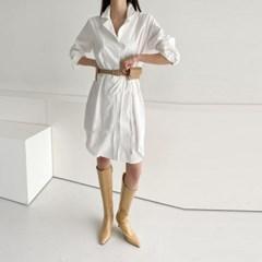 봄 오버핏 카라 어깨셔링 리본끈 언발 셔츠 미니원피스