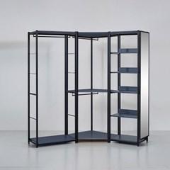 카소 철제 드레스룸 2200 코너형 1단 거울장 세트