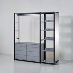 카소 철제 드레스룸 1800 서랍 선반 거울장 세트