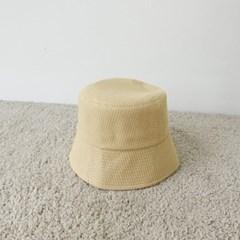 체크 깊은 대두 오렌지 꾸안꾸 버킷햇 벙거지 모자