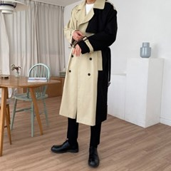 RG 로베 배색 투톤 롱 트렌치 코트 2color