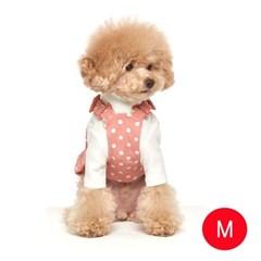 강아지 땡땡이 나염 오버롤즈 핑크 M