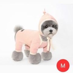 골지기본 강아지 올인원 모자포함 핑크 M