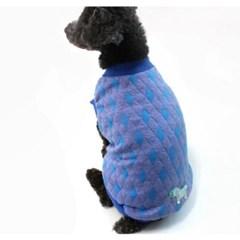 강아지 올인원 티셔츠 패딩 베스트 조끼 블루 겨울옷