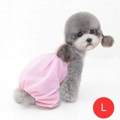 체크나시 강아지 올인원 모자미포함 핑크 L