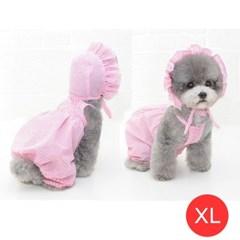 체크나시 강아지 올인원 모자포함 핑크 XL