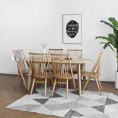 [오크] A1형 라운드식탁/테이블 세트 : 화이트오크 1800_(1696355)