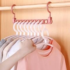 가로세로 공간활용 옷걸이(레드)  9구 간격유지옷걸이