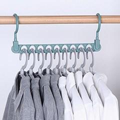 가로세로 공간활용 옷걸이(블루) 간격유지 9구 옷걸이