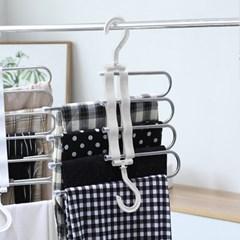 홈라운드 4단 매직 바지걸이 폴딩 공간활용옷걸이